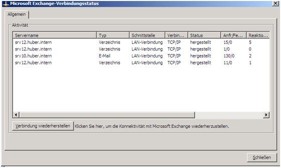 Outlook Verbindungsstatus